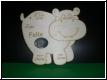 Geburtstafel Nilpferd mit Babybild  Gravur-Geburtenschild