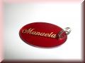 Acryl-Anhänger rot oval - Gravur