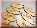 Holzanhänger/Schlüsselanhänger oval für Geschenke im 10erPack